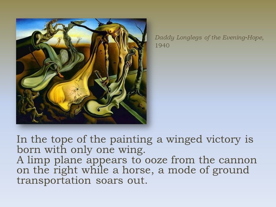 In the tope of the painting a winged victory is born with only one wing.