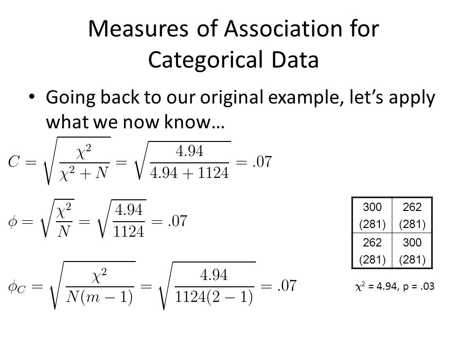 Measures of Association for Categorical Data Going back to our original example, let's apply what we now know… 300 (281) 262 (281) 262 (281) 300 (281)  2 = 4.94, p =.03