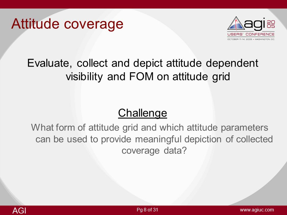 Pg 8 of 31 AGI www.agiuc.com Attitude coverage Evaluate, collect and depict attitude dependent visibility and FOM on attitude grid Challenge What form of attitude grid and which attitude parameters can be used to provide meaningful depiction of collected coverage data?