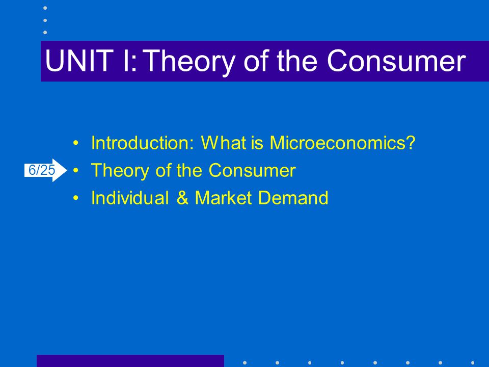 UNIT I:Theory of the Consumer Introduction: What is Microeconomics? Theory of the Consumer Individual & Market Demand 6/25