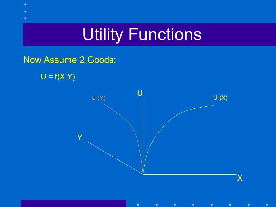 Utility Functions Y X U Now Assume 2 Goods: U (X) U (Y) U = f(X,Y)