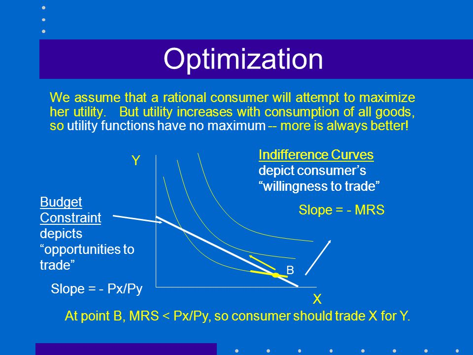 Optimization We assume that a rational consumer will attempt to maximize her utility. But utility increases with consumption of all goods, so utility