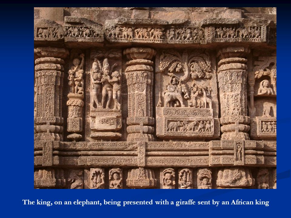 The king, on an elephant, being presented with a giraffe sent by an African king