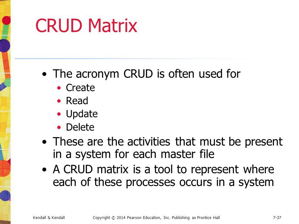 Kendall & KendallCopyright © 2014 Pearson Education, Inc. Publishing as Prentice Hall7-37 CRUD Matrix The acronym CRUD is often used for Create Read U