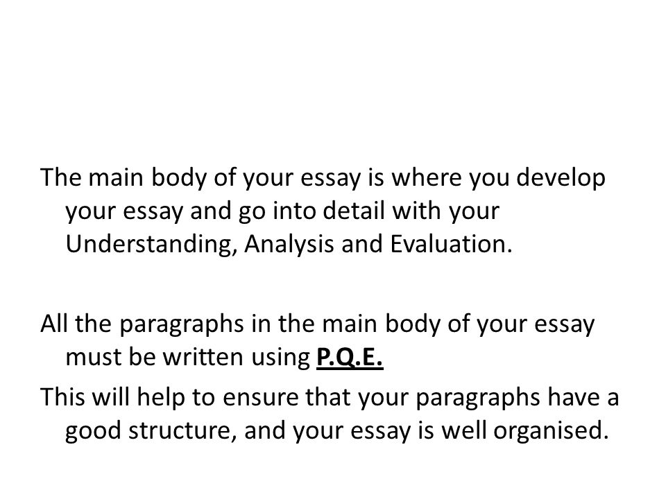 The main body of your essay is where you develop your essay and go into detail with your Understanding, Analysis and Evaluation. All the paragraphs in