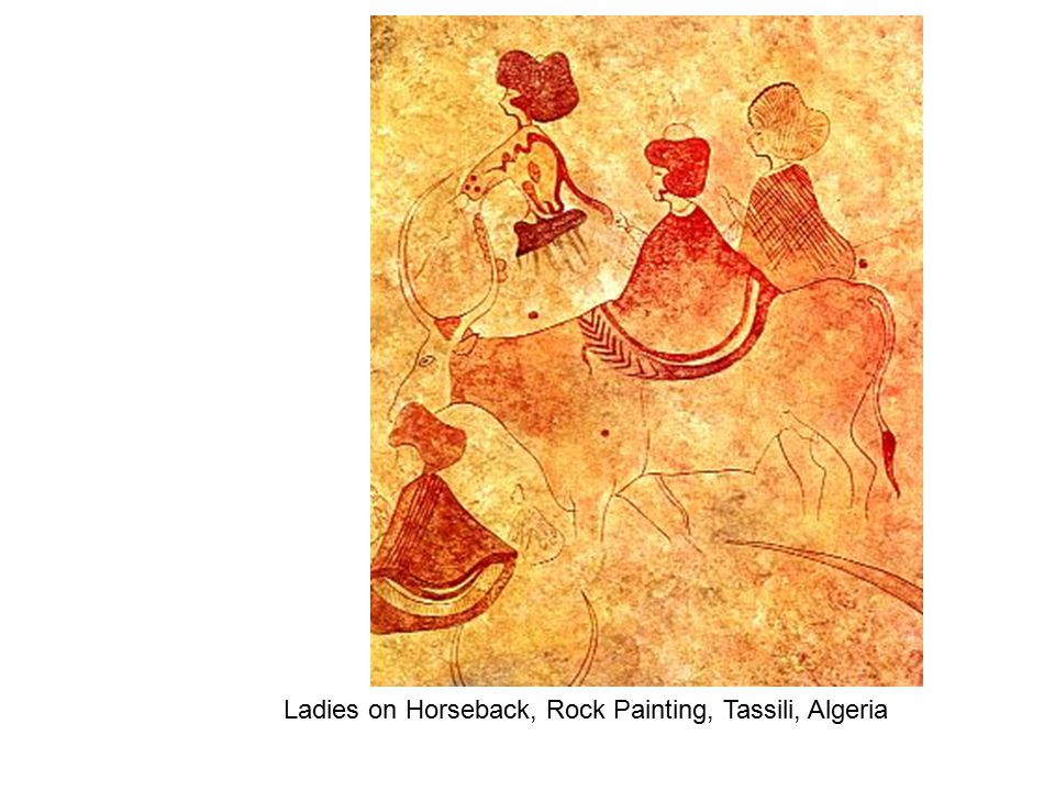Two lovers holding hands super imposed on faint but visible images of animals in White pigment, Western Chad Republic
