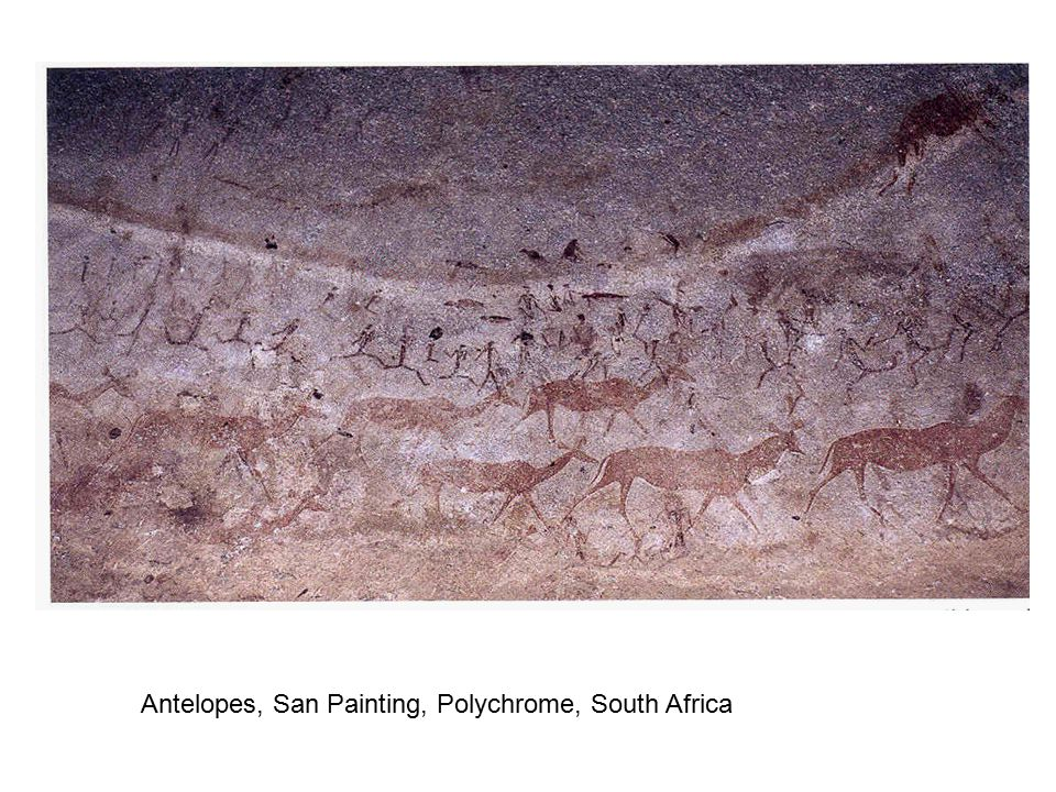 Battle scene with the British San Painting Polychrome South Africa
