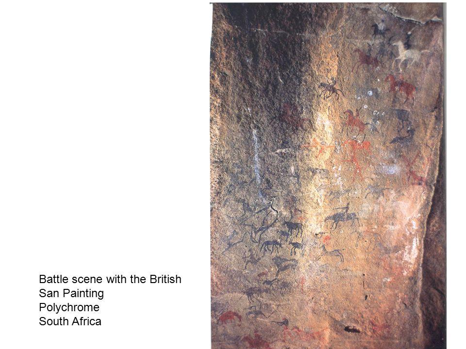 Animal scene--Lion, Giraffe, horses, polychrome, South Africa
