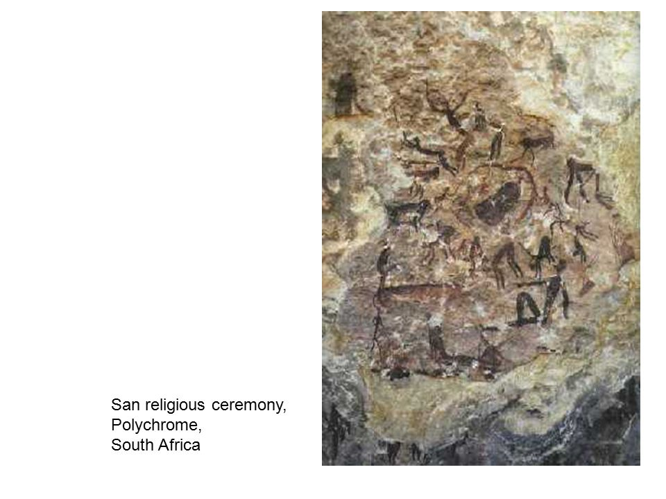 Dancing Figures, San Peoples, polychrome, Drakensberg Mountains,South Africa