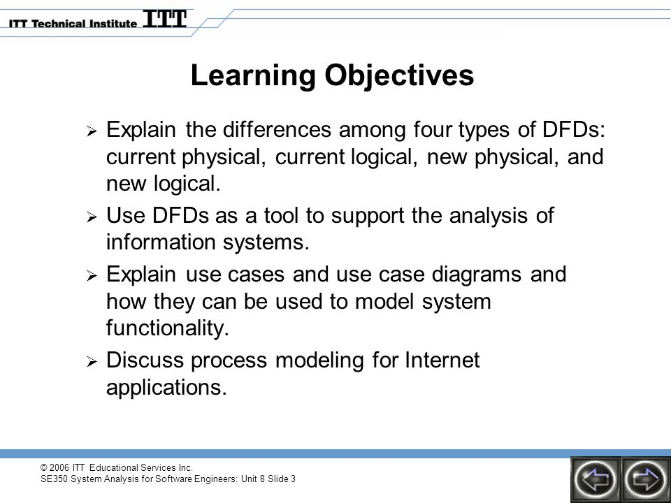 © 2006 ITT Educational Services Inc. SE350 System Analysis for Software Engineers: Unit 8 Slide 3 Learning Objectives  Explain the differences among
