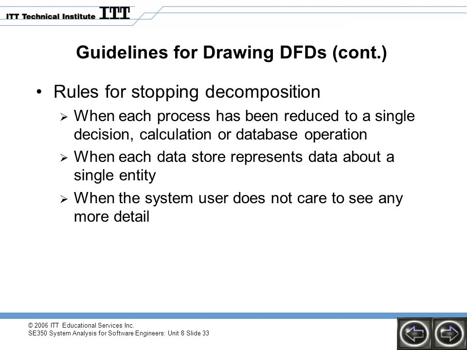 © 2006 ITT Educational Services Inc. SE350 System Analysis for Software Engineers: Unit 8 Slide 33 Guidelines for Drawing DFDs (cont.) Rules for stopp