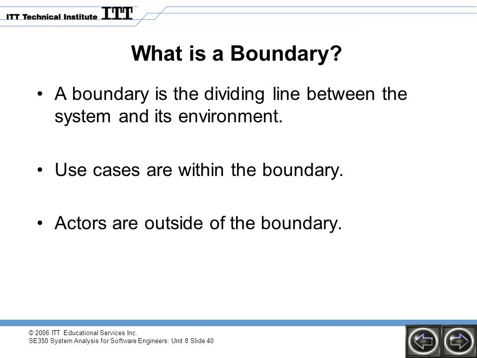 © 2006 ITT Educational Services Inc. SE350 System Analysis for Software Engineers: Unit 8 Slide 40 What is a Boundary? A boundary is the dividing line