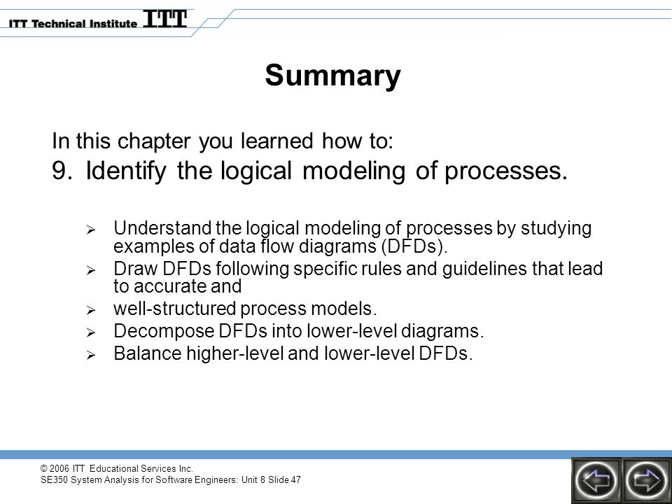© 2006 ITT Educational Services Inc. SE350 System Analysis for Software Engineers: Unit 8 Slide 47 Summary In this chapter you learned how to: 9.Ident