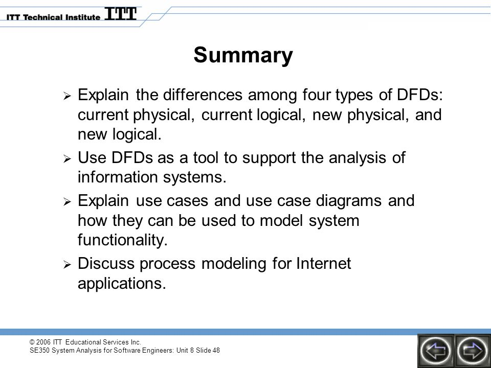 © 2006 ITT Educational Services Inc. SE350 System Analysis for Software Engineers: Unit 8 Slide 48 Summary  Explain the differences among four types
