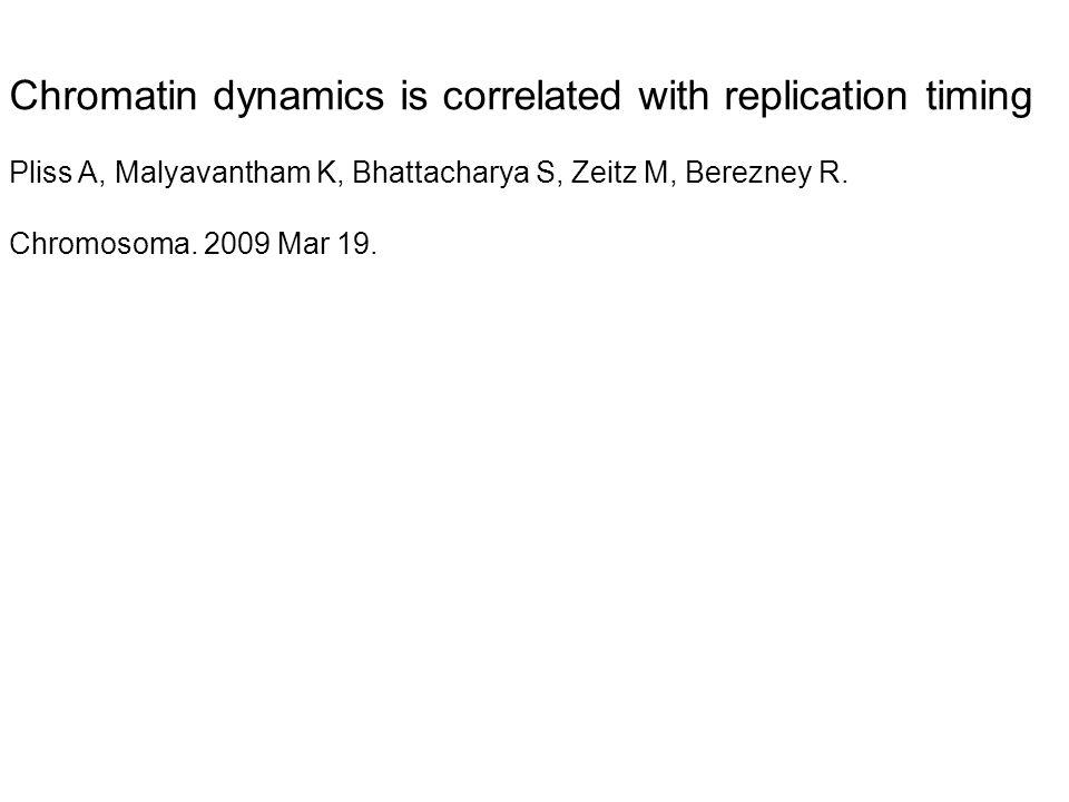 Chromatin dynamics is correlated with replication timing Pliss A, Malyavantham K, Bhattacharya S, Zeitz M, Berezney R. Chromosoma. 2009 Mar 19.