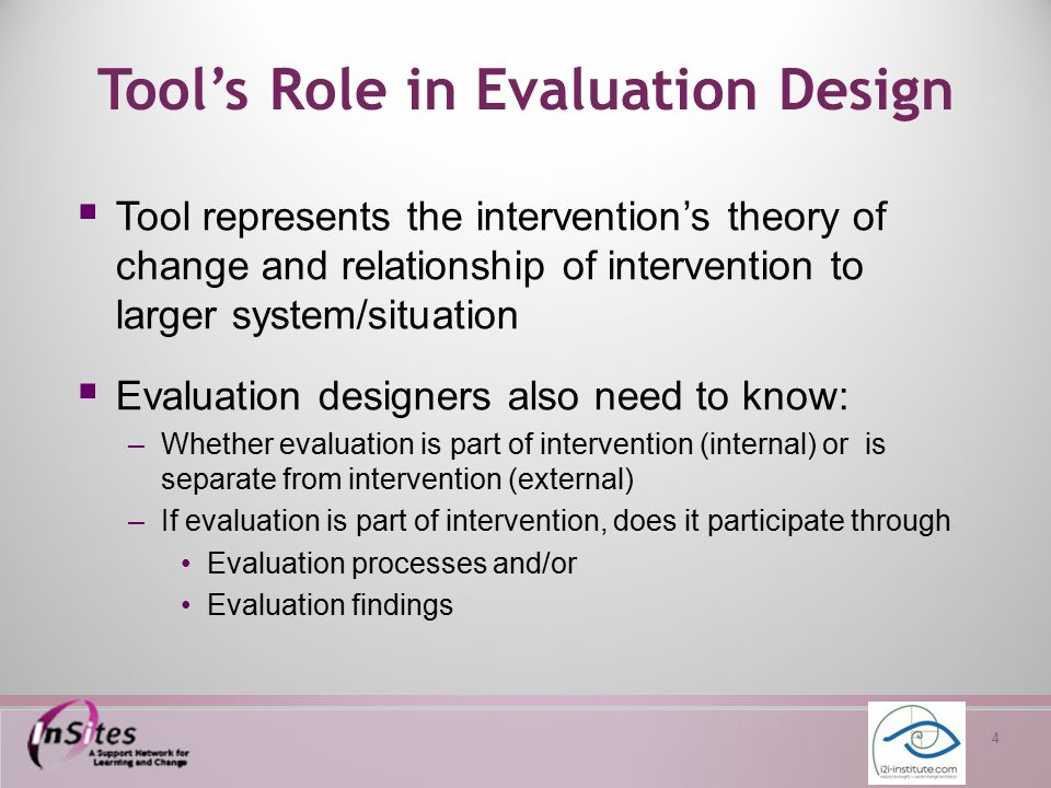 5 Session Agenda  Introduction to tool for designing evaluations of interventions in complex systems  Work in small groups to begin tool development  Reconvene to discuss completion of tool and its use