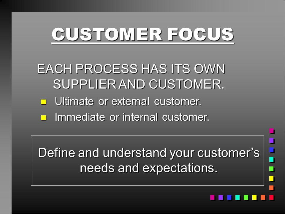 CUSTOMER FOCUS EACH PROCESS HAS ITS OWN SUPPLIER AND CUSTOMER. n Ultimate or external customer. n Immediate or internal customer. Define and understan