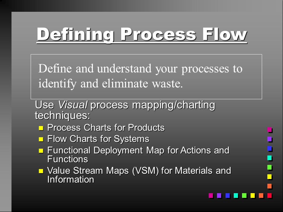 Defining Process Flow Use Visual process mapping/charting techniques: n Process Charts for Products n Flow Charts for Systems n Functional Deployment