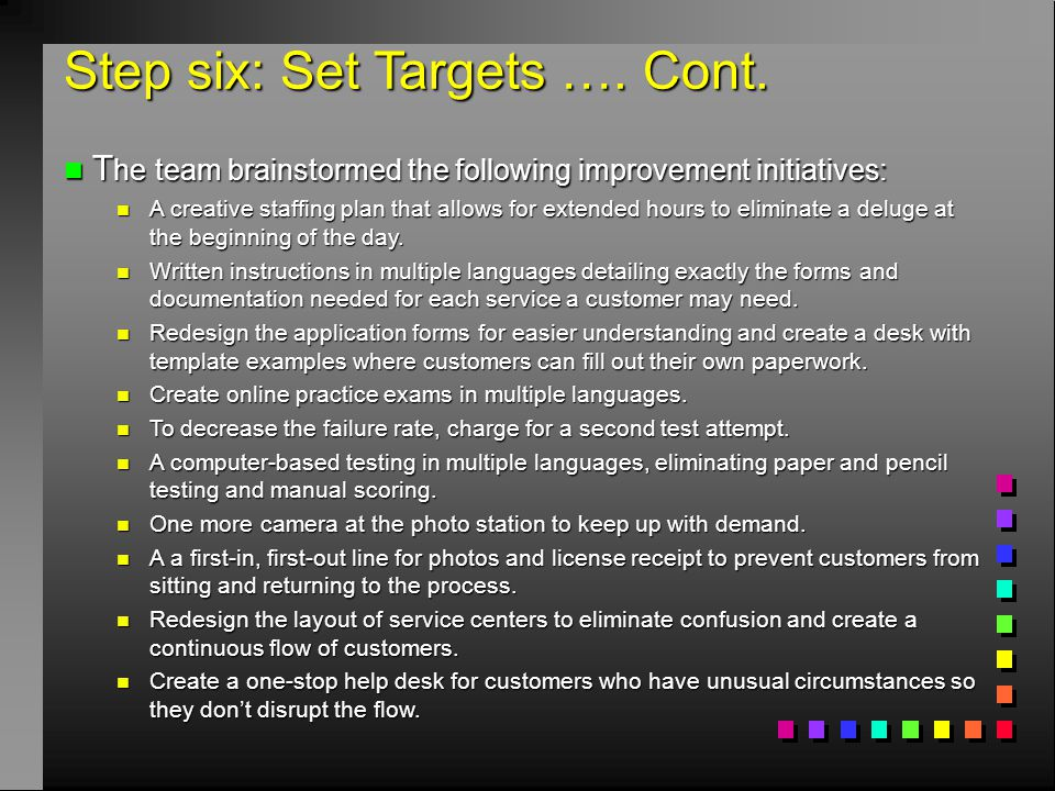 Step six: Set Targets …. Cont. n T he team brainstormed the following improvement initiatives: n A creative staffing plan that allows for extended hou
