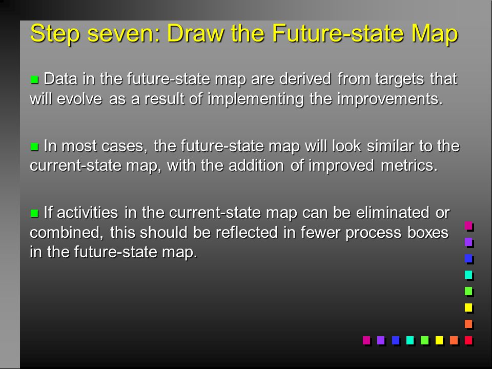 Step seven: Draw the Future-state Map n Data in the future-state map are derived from targets that will evolve as a result of implementing the improve