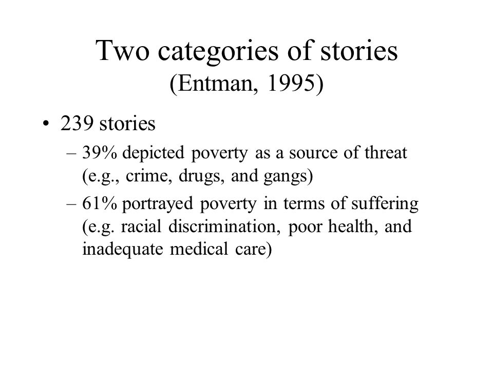 Two categories of stories (Entman, 1995) 239 stories –39% depicted poverty as a source of threat (e.g., crime, drugs, and gangs) –61% portrayed poverty in terms of suffering (e.g.