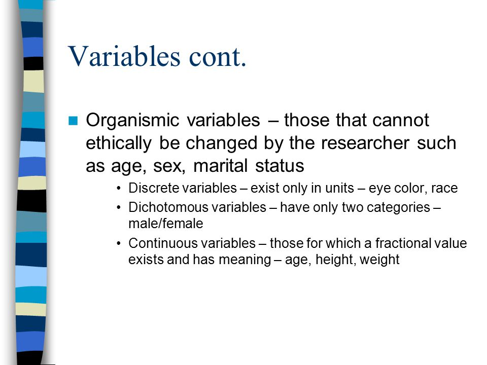 Variables cont.