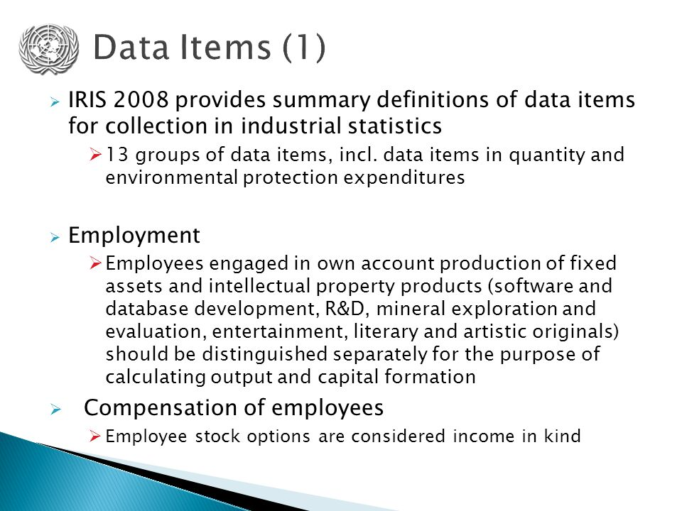  IRIS 2008 provides summary definitions of data items for collection in industrial statistics  13 groups of data items, incl.