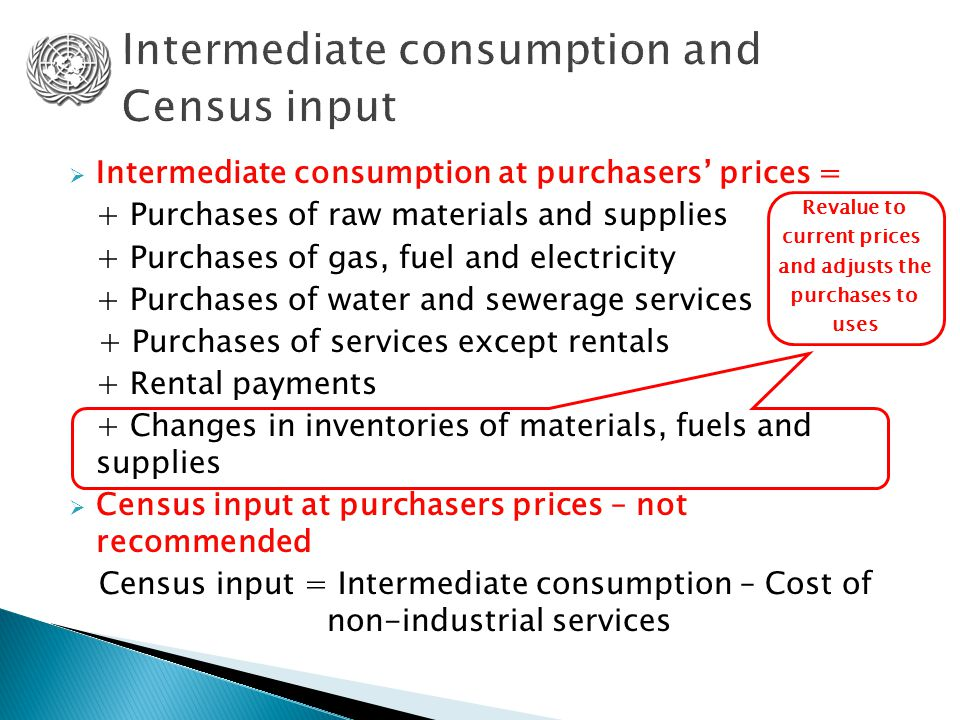 Intermediate consumption at purchasers' prices = + Purchases of raw materials and supplies + Purchases of gas, fuel and electricity + Purchases of w