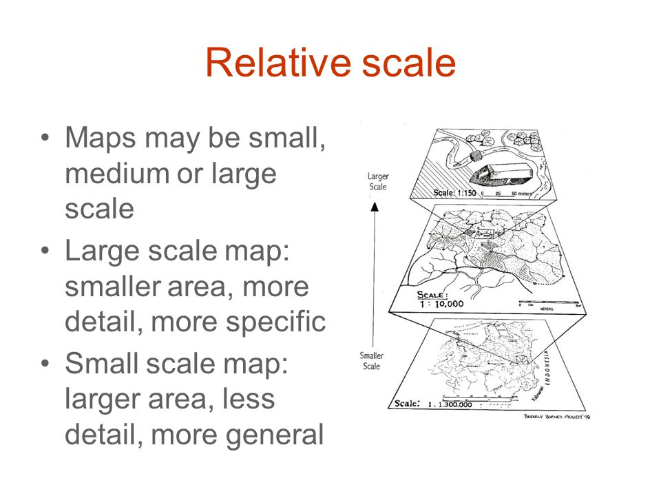 Relative scale Maps may be small, medium or large scale Large scale map: smaller area, more detail, more specific Small scale map: larger area, less d