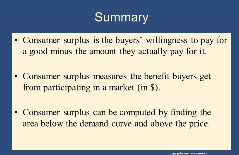 Copyright © 2004 South-Western Summary Consumer surplus is the buyers' willingness to pay for a good minus the amount they actually pay for it.