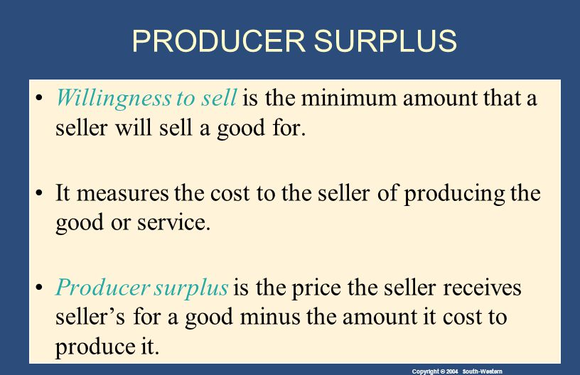 Copyright © 2004 South-Western PRODUCER SURPLUS Willingness to sell is the minimum amount that a seller will sell a good for.