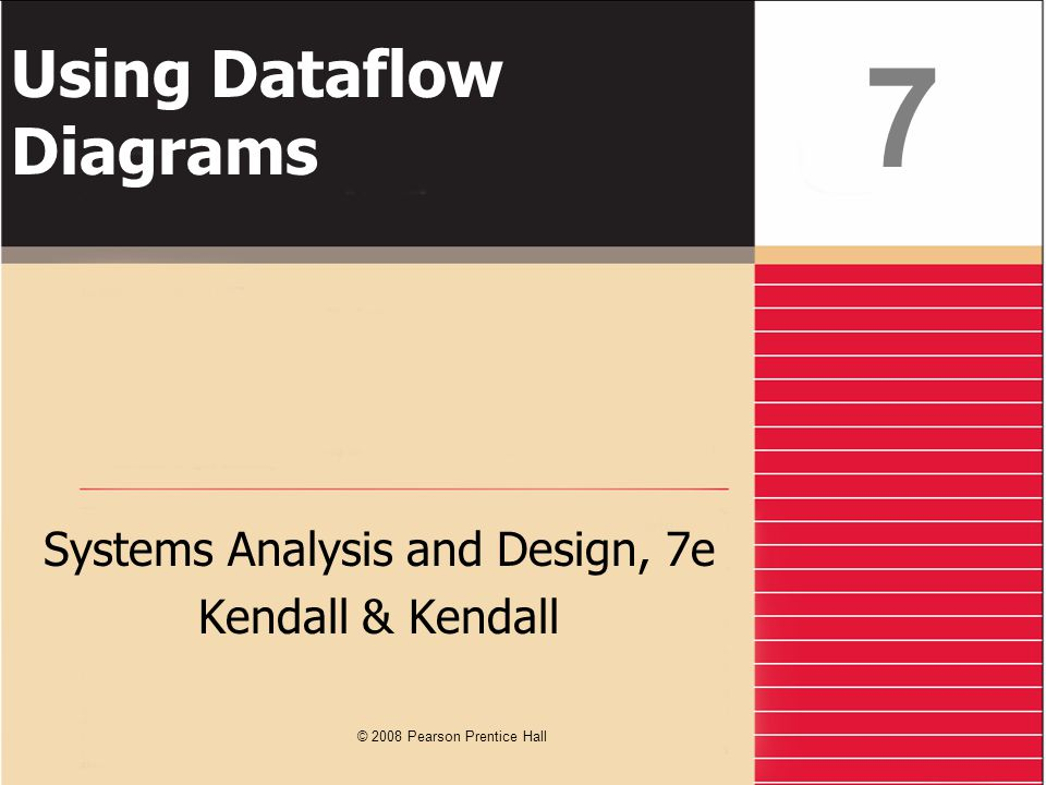 Kendall & Kendall7-42 Summary Data flow diagrams Structured analysis and design tools that allow the analyst to comprehend the system and subsystems visually as a set of interrelated data flows DFD symbols Rounded rectangle Double square An arrow Open-ended rectangle