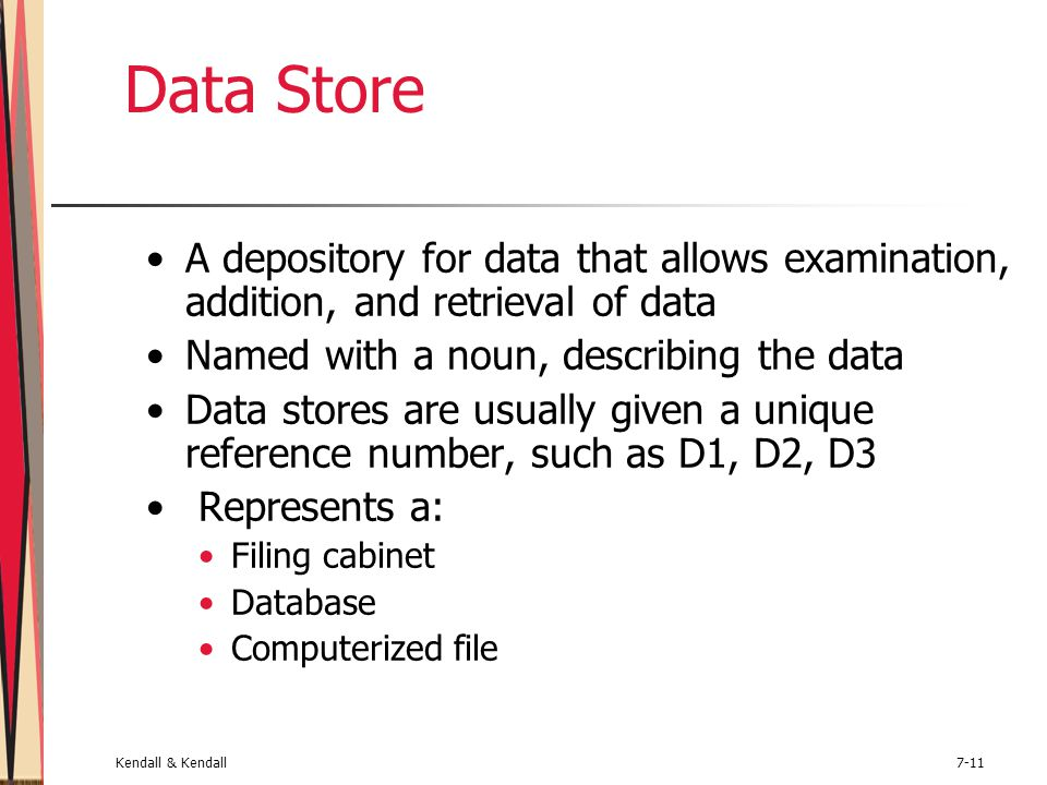 Kendall & Kendall7-11 Data Store A depository for data that allows examination, addition, and retrieval of data Named with a noun, describing the data