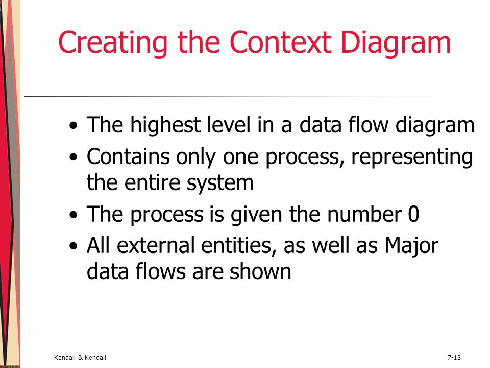 Kendall & Kendall7-13 Creating the Context Diagram The highest level in a data flow diagram Contains only one process, representing the entire system