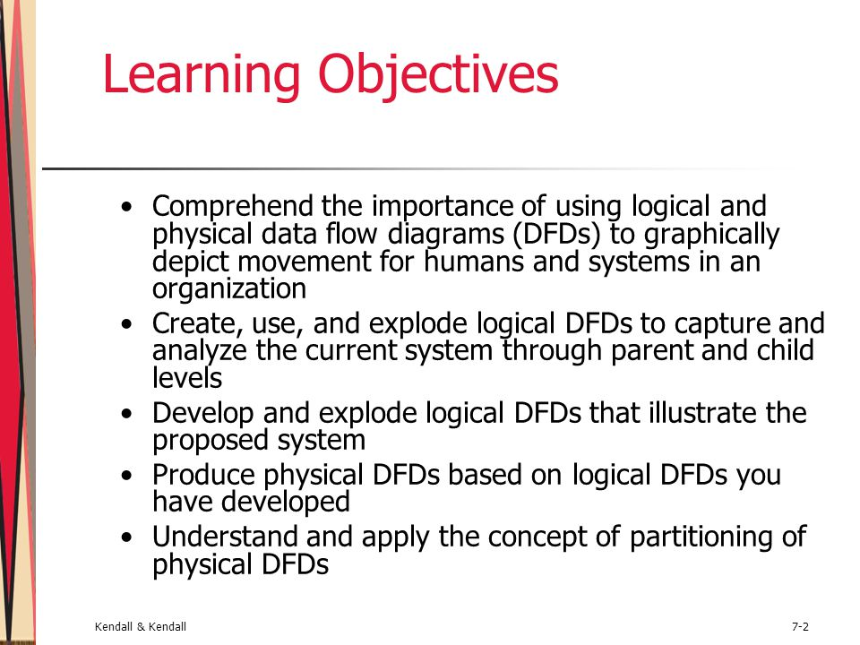 Kendall & Kendall7-2 Learning Objectives Comprehend the importance of using logical and physical data flow diagrams (DFDs) to graphically depict movem
