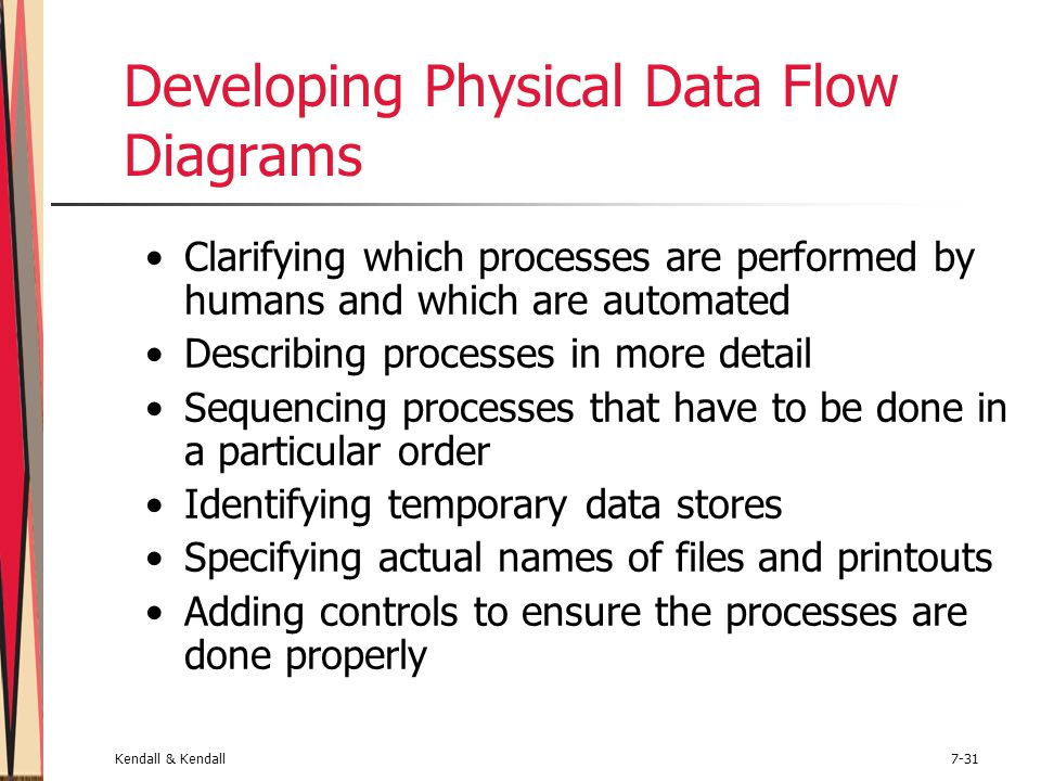 Kendall & Kendall7-31 Developing Physical Data Flow Diagrams Clarifying which processes are performed by humans and which are automated Describing pro