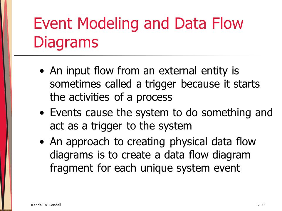 Kendall & Kendall7-33 Event Modeling and Data Flow Diagrams An input flow from an external entity is sometimes called a trigger because it starts the
