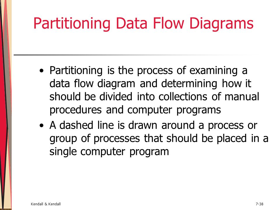 Kendall & Kendall7-38 Partitioning Data Flow Diagrams Partitioning is the process of examining a data flow diagram and determining how it should be di