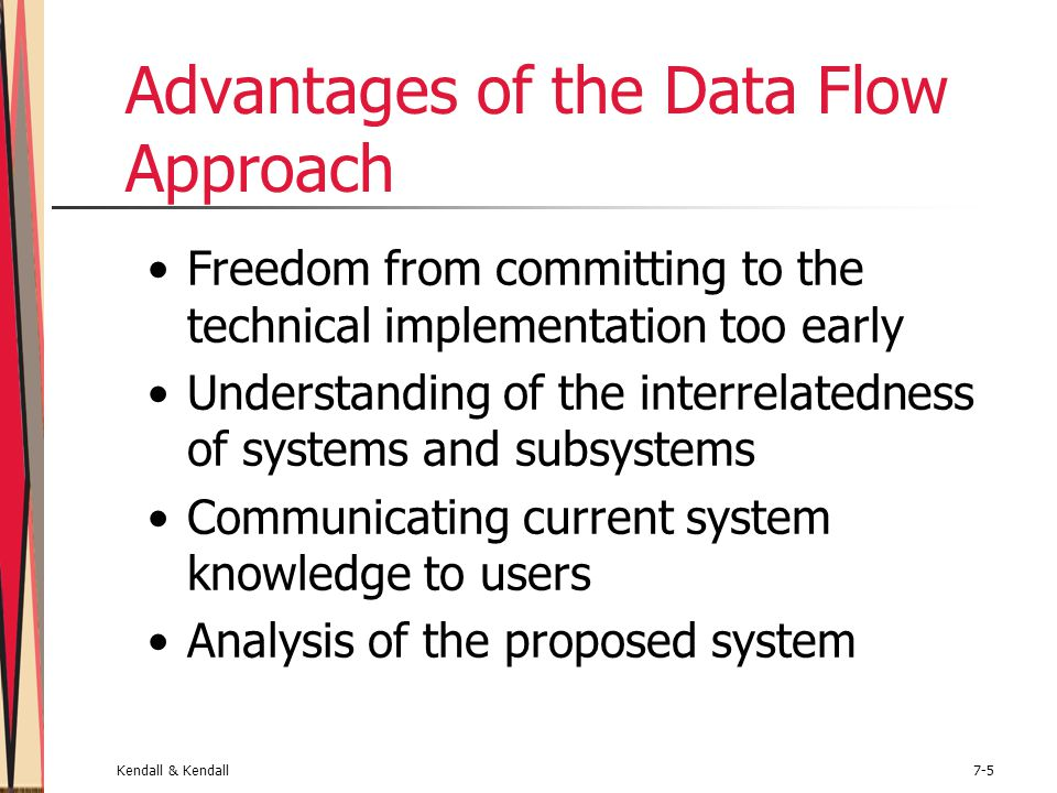 Kendall & Kendall7-16 Drawing Diagram 0 (Continued) Start with the data flow from an entity on the input side Work backwards from an output data flow Examine the data flow to or from a data store Analyze a well-defined process Take note of any fuzzy areas