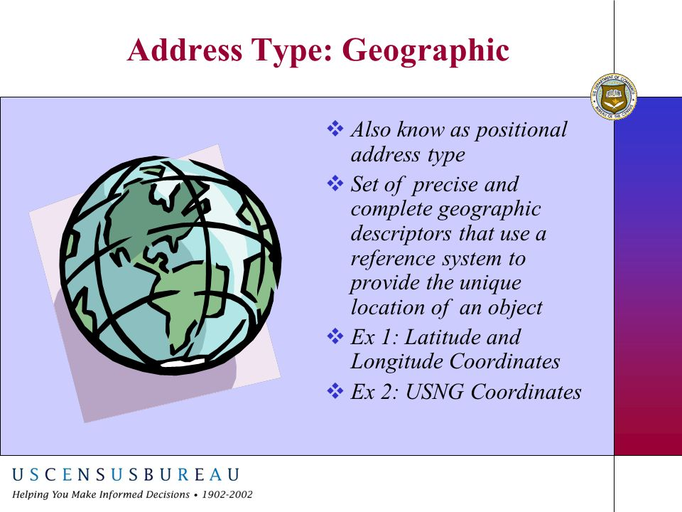 Address Type: Geographic  Also know as positional address type  Set of precise and complete geographic descriptors that use a reference system to pr
