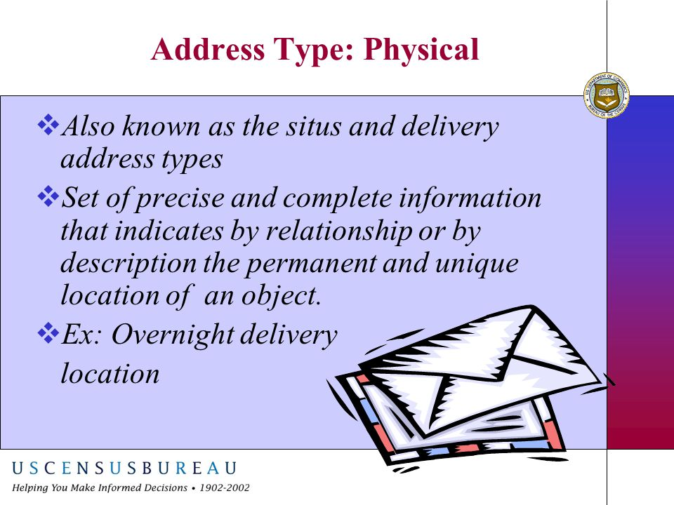 Address Type: Physical  Also known as the situs and delivery address types  Set of precise and complete information that indicates by relationship o
