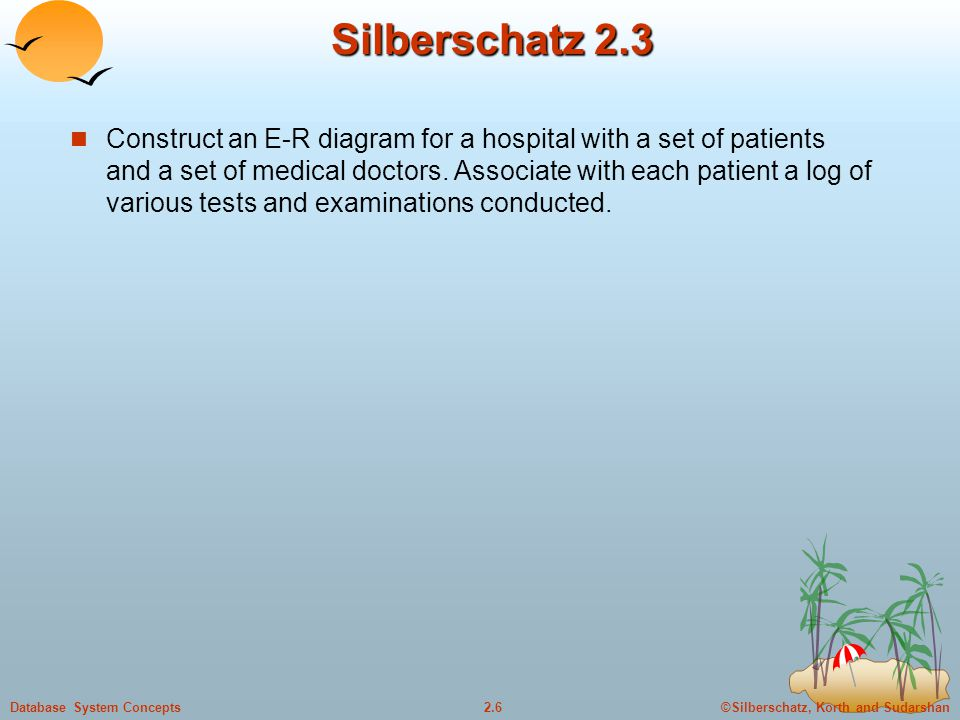 ©Silberschatz, Korth and Sudarshan2.6Database System Concepts Silberschatz 2.3 Construct an E-R diagram for a hospital with a set of patients and a set of medical doctors.