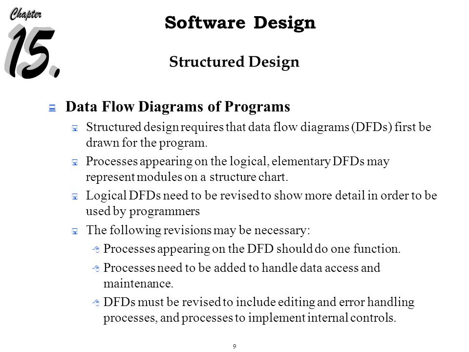 30 Software Design Structured Design  Structure Chart Quality Assurance Checks  Coupling:  Types of coupling: (from best to worst) Data coupling — two modules are said to be data coupled if their dependency is based on the fact that they communicate by passing of data.