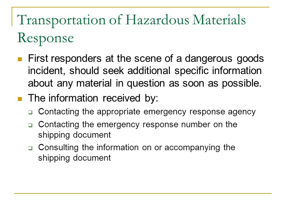 Table of Placards Pages 6 and 7 of the ERG depict the different placards used in the transport of dangerous goods.