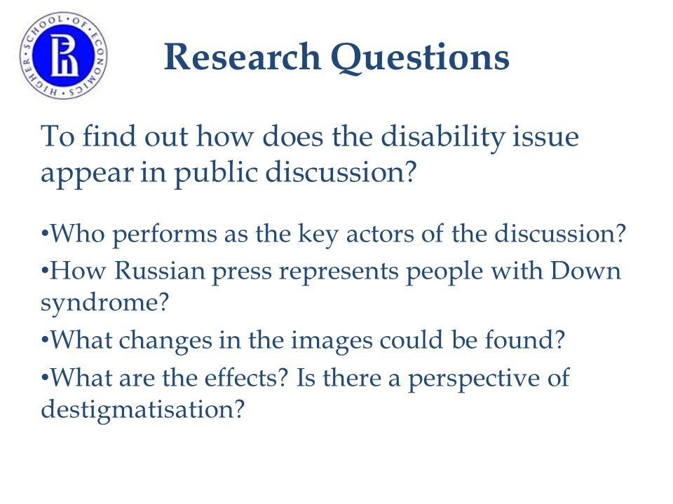 Research Questions To find out how does the disability issue appear in public discussion.