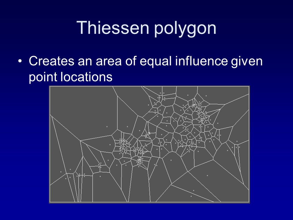 Thiessen polygon Creates an area of equal influence given point locations