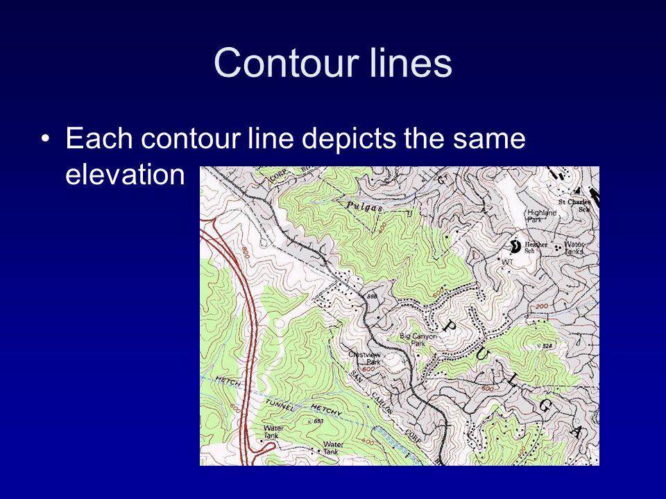 Contour lines Each contour line depicts the same elevation