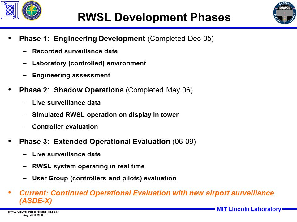 MIT Lincoln Laboratory RWSL OpEval PilotTraining, page 13 Aug 2006 MPK Phase 1: Engineering Development (Completed Dec 05) –Recorded surveillance data –Laboratory (controlled) environment –Engineering assessment Phase 2: Shadow Operations (Completed May 06) –Live surveillance data –Simulated RWSL operation on display in tower –Controller evaluation Phase 3: Extended Operational Evaluation (06-09) –Live surveillance data –RWSL system operating in real time –User Group (controllers and pilots) evaluation Current: Continued Operational Evaluation with new airport surveillance (ASDE-X) RWSL Development Phases