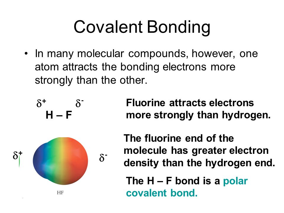 Covalent Bonding In many molecular compounds, however, one atom attracts the bonding electrons more strongly than the other.