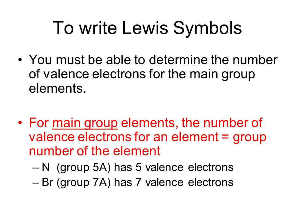 To write Lewis Symbols You must be able to determine the number of valence electrons for the main group elements.